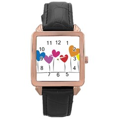Heart Flowers Rose Gold Leather Watch  by magann
