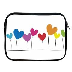 Heart Flowers Apple Ipad 2/3/4 Zipper Case by magann