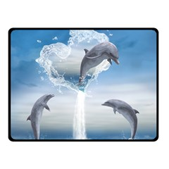 The Heart Of The Dolphins Fleece Blanket (small) by gatterwe
