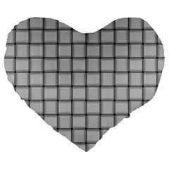 Gray Weave 19  Premium Heart Shape Cushion by BestCustomGiftsForYou
