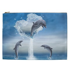 The Heart Of The Dolphins Cosmetic Bag (xxl)