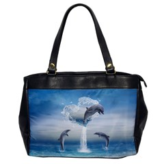 The Heart Of The Dolphins Oversize Office Handbag (one Side) by gatterwe