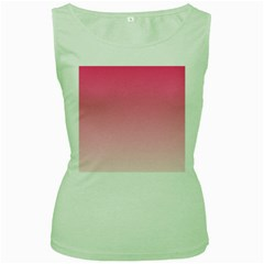 French Rose To Piggy Pink Gradient Womens  Tank Top (green)