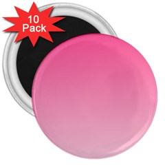 French Rose To Piggy Pink Gradient 3  Button Magnet (10 Pack) by BestCustomGiftsForYou