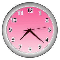 French Rose To Piggy Pink Gradient Wall Clock (silver)