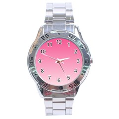 French Rose To Piggy Pink Gradient Stainless Steel Watch (men s) by BestCustomGiftsForYou