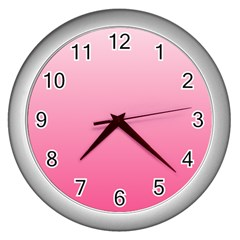 Piggy Pink To French Rose Gradient Wall Clock (silver) by BestCustomGiftsForYou