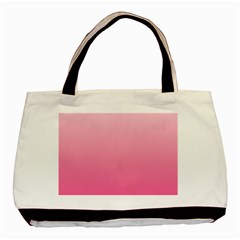 Piggy Pink To French Rose Gradient Twin Sided Black Tote Bag by BestCustomGiftsForYou