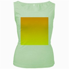 Chrome Yellow To Yellow Gradient Womens  Tank Top (green)