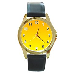 Chrome Yellow To Yellow Gradient Round Metal Watch (gold Rim)  by BestCustomGiftsForYou