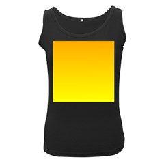 Chrome Yellow To Yellow Gradient Womens  Tank Top (black) by BestCustomGiftsForYou