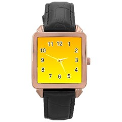 Chrome Yellow To Yellow Gradient Rose Gold Leather Watch  by BestCustomGiftsForYou