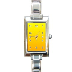 Yellow To Chrome Yellow Gradient Rectangular Italian Charm Watch by BestCustomGiftsForYou
