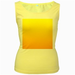 Yellow To Chrome Yellow Gradient Womens  Tank Top (Yellow) by BestCustomGiftsForYou