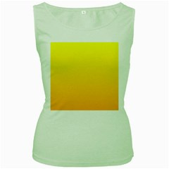 Yellow To Chrome Yellow Gradient Womens  Tank Top (green) by BestCustomGiftsForYou