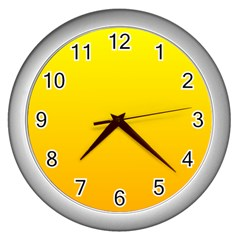 Yellow To Chrome Yellow Gradient Wall Clock (silver) by BestCustomGiftsForYou
