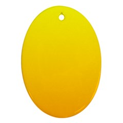 Yellow To Chrome Yellow Gradient Oval Ornament (two Sides)