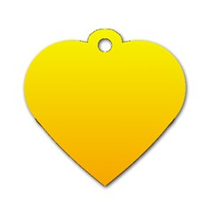Yellow To Chrome Yellow Gradient Dog Tag Heart (one Sided)