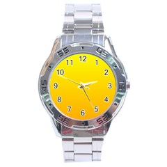 Yellow To Chrome Yellow Gradient Stainless Steel Watch (men s) by BestCustomGiftsForYou