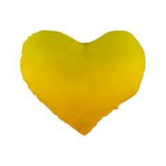 Yellow To Chrome Yellow Gradient 16  Premium Heart Shape Cushion