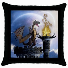Dragon Land 2 Black Throw Pillow Case by gatterwe