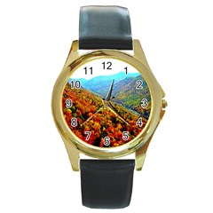 Through The Mountains Round Metal Watch (gold Rim)  by Majesticmountain