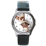Chihuahua Round Metal Watch (Silver Rim)