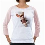 Chihuahua Womens  Long Sleeve Raglan T-shirt (White)