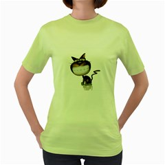 Funny Cat Womens  T Shirt (green) by cutepetshop