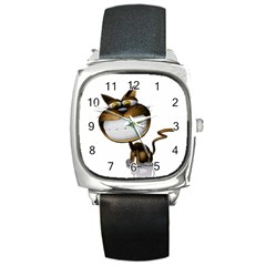 Funny Cat Square Leather Watch by cutepetshop