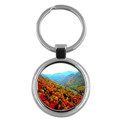 Through The Mountains Key Chain (round) by Majesticmountain
