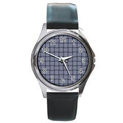 Cool Gray Weave Round Metal Watch (silver Rim)