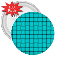 Cyan Weave 3  Button (100 Pack) by BestCustomGiftsForYou