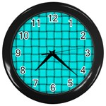 Cyan Weave Wall Clock (Black) Front