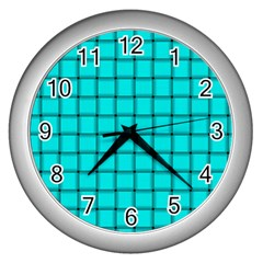 Cyan Weave Wall Clock (silver) by BestCustomGiftsForYou