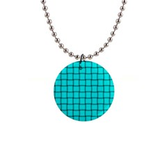 Cyan Weave Button Necklace by BestCustomGiftsForYou