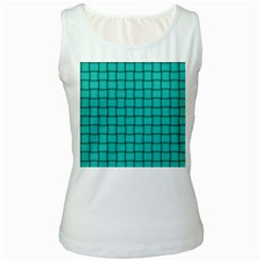 Turquoise Weave Womens  Tank Top (White)