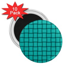 Turquoise Weave 2 25  Button Magnet (10 Pack) by BestCustomGiftsForYou