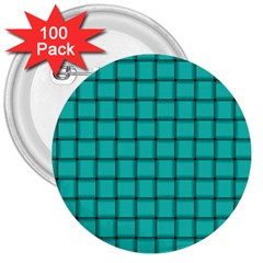 Turquoise Weave 3  Button (100 Pack) by BestCustomGiftsForYou