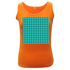 Turquoise Weave Womens  Tank Top (dark Colored) by BestCustomGiftsForYou