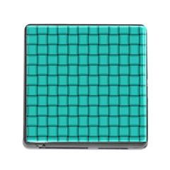 Turquoise Weave Memory Card Reader With Storage (square)