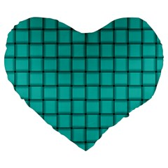 Turquoise Weave 19  Premium Heart Shape Cushion