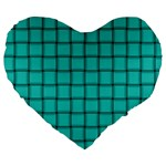 Turquoise Weave 19  Premium Heart Shape Cushion Front