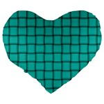 Turquoise Weave 19  Premium Heart Shape Cushion Back