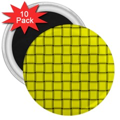 Yellow Weave 3  Button Magnet (10 Pack) by BestCustomGiftsForYou