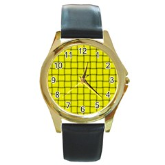 Yellow Weave Round Metal Watch (gold Rim)  by BestCustomGiftsForYou