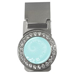 Light Blue Abstract Flowers Money Clip (cz)