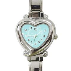 Light Blue Abstract Flowers Heart Italian Charm Watch  by BestCustomGiftsForYou