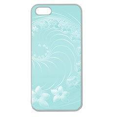 Light Blue Abstract Flowers Apple Seamless Iphone 5 Case (clear) by BestCustomGiftsForYou