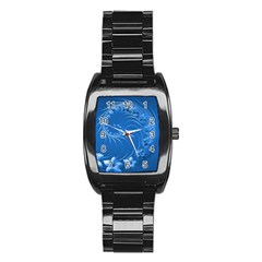 Blue Abstract Flowers Men s Stainless Steel Barrel Analog Watch by BestCustomGiftsForYou